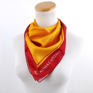 Accessories - Rome Italy Red & Gold Souvenir Neck Scarf Bandana